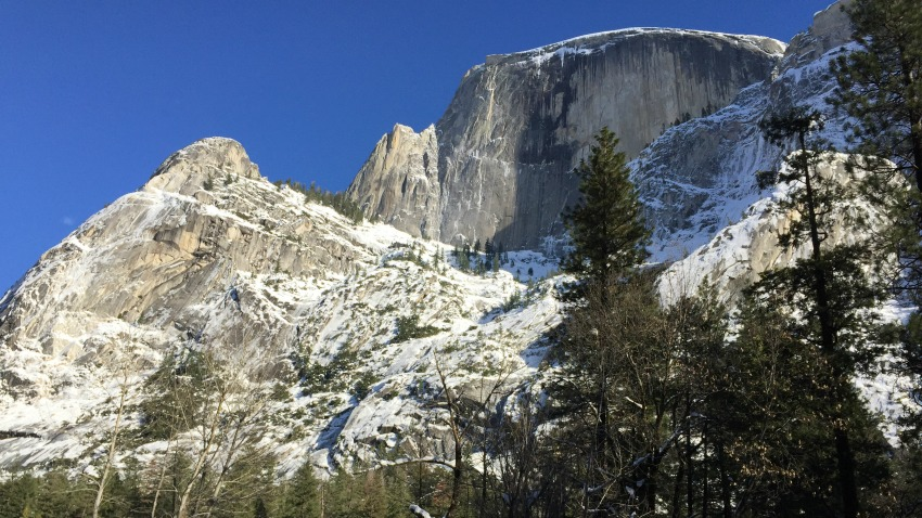 Half Dome towered above as we walk to Mirror Lake.