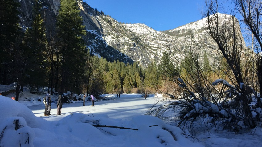 After hiking to the Vernal Fall bridge, we walked to the frozen over Mirror Lake