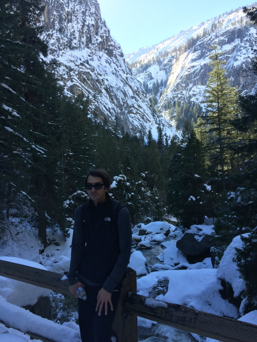 It was like walking on ice, but we made it to the Vernal Fall bridge.